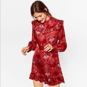 Zara Dresses - Zara Red Jacquard Mini Ruffle Long Sleeve Dress.